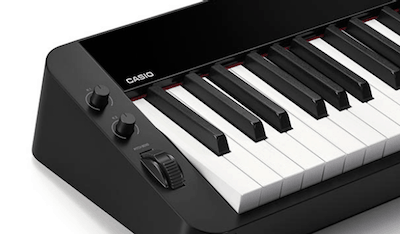 Assignable knobs and pitch bend wheel on the Casio PX-S3000.