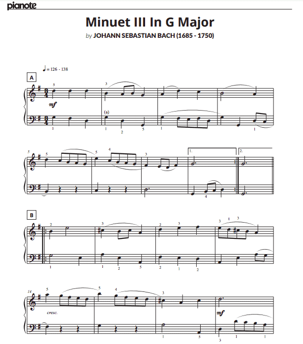 A download for Minuet III in G Major from the PiaNote program